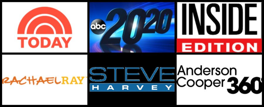 Logos for the popular news and talk shows mentioned in the paragraph above